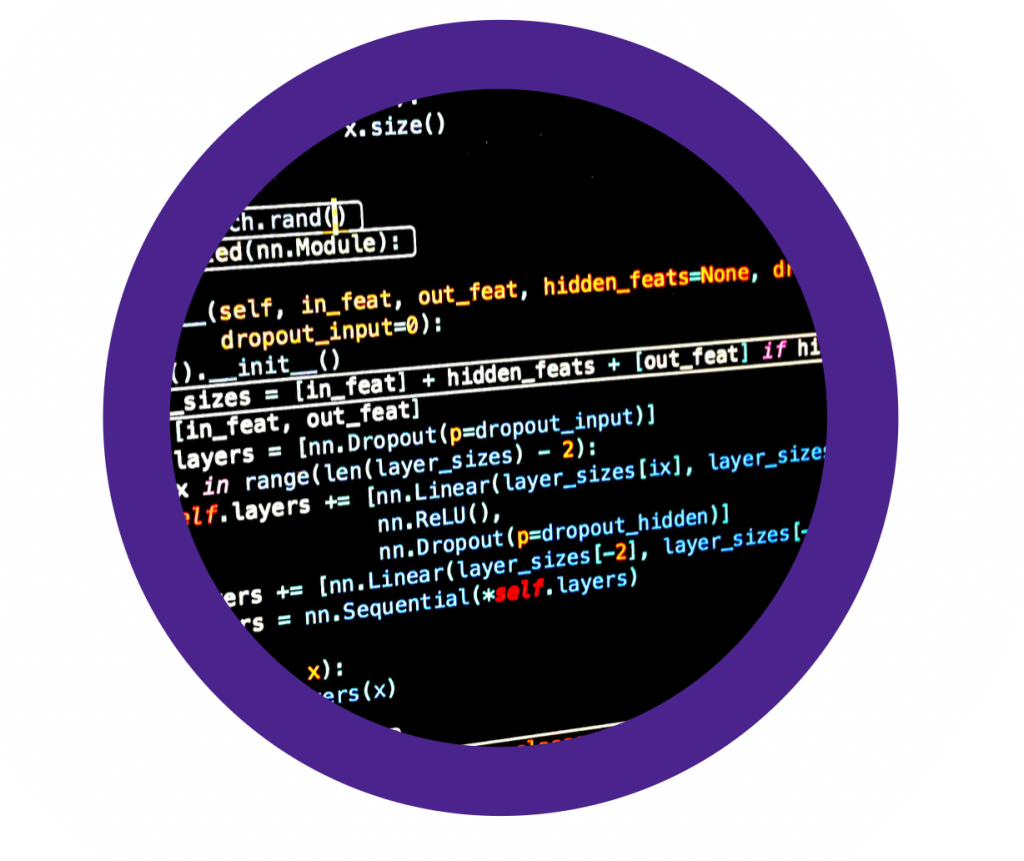 circular screenshot of code