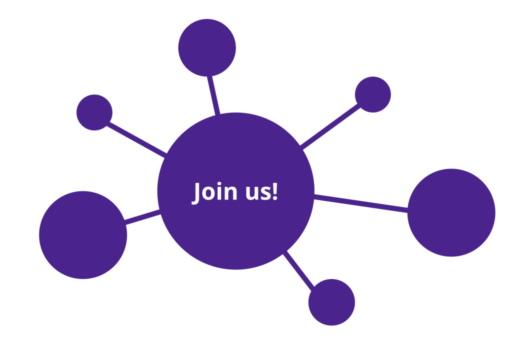 """join us"" text over signature purple connected dots"