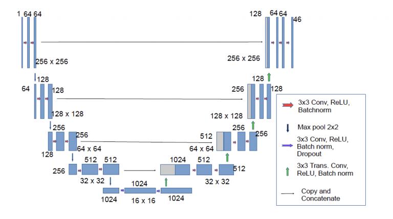chart of vanilla U-Net architecture