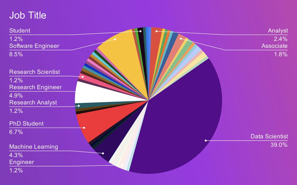 chart showing job titles students held post-graduation